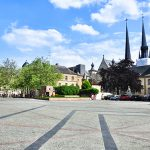 Panoramic shot of Place Guillaume II (Wilhelmsplatz) is town square in Luxembourg City